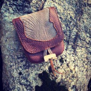 Kodiak Leather/Ostrich Pouch