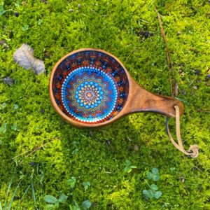 Hand-Painted Oak Kuksa
