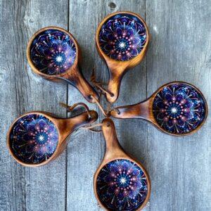 Hand- Painted Oak Kuksa